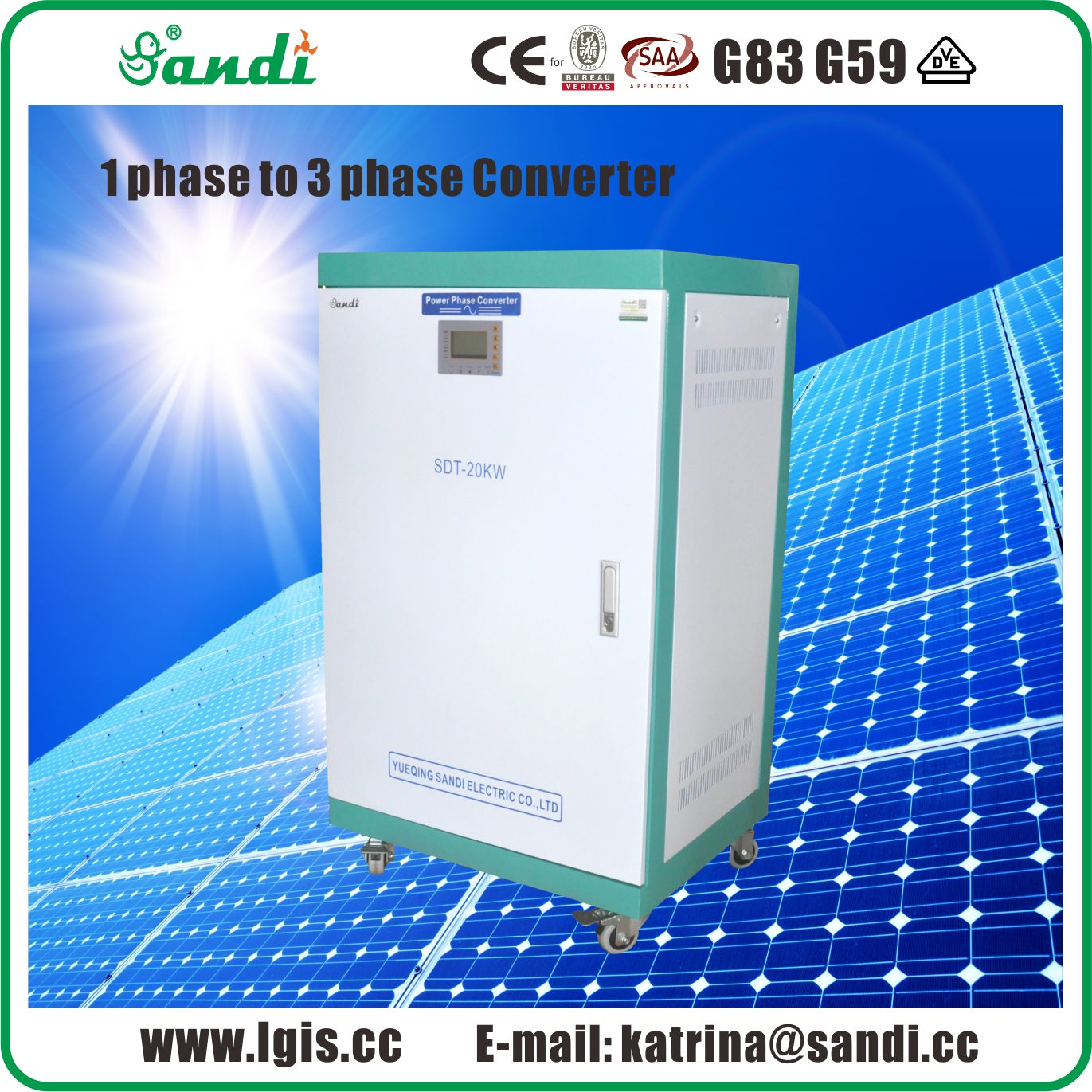 20KW Phase converter single phase power to 3 phase power output